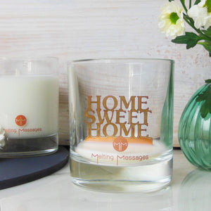 Hidden message candle 'home sweet home' copper