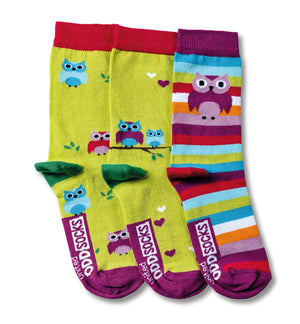 United Odd Socks Owls Girls 3 Pack - The Love Trees