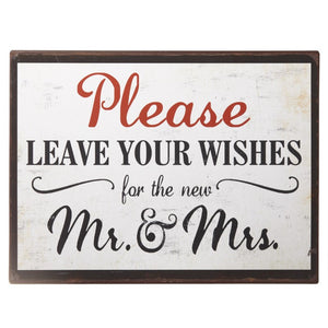 Wishes For Mr & Mrs Wedding Metal Sign - The Love Trees
