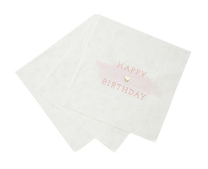 We Heart Pink Happy Birthday Napkins