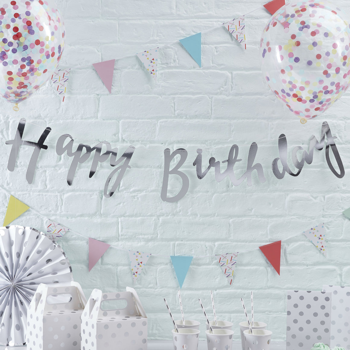 Silver Happy Birthday Banner Bunting - Pick & Mix