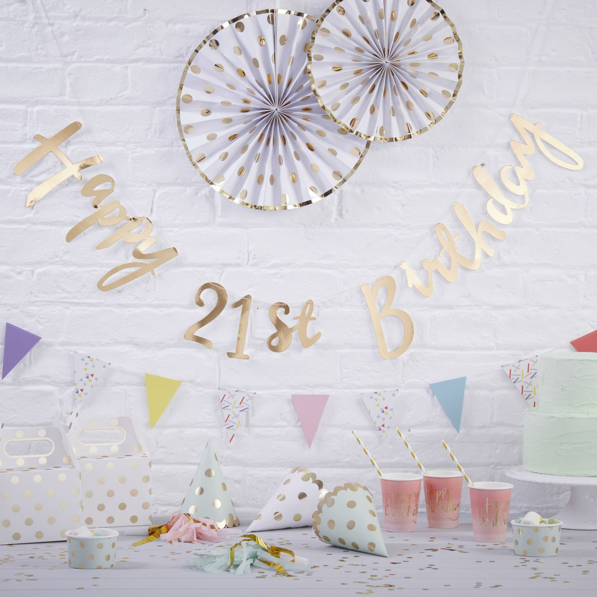 Gold Happy 21st Birthday Bunting - Pick & Mix - The Love Trees