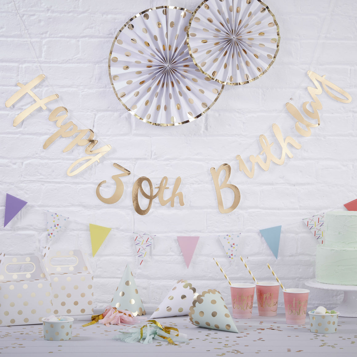 Gold Happy 30th Birthday Bunting - Pick & Mix - The Love Trees