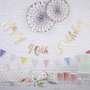 Gold Happy 40th Birthday Bunting - Pick & Mix - The Love Trees
