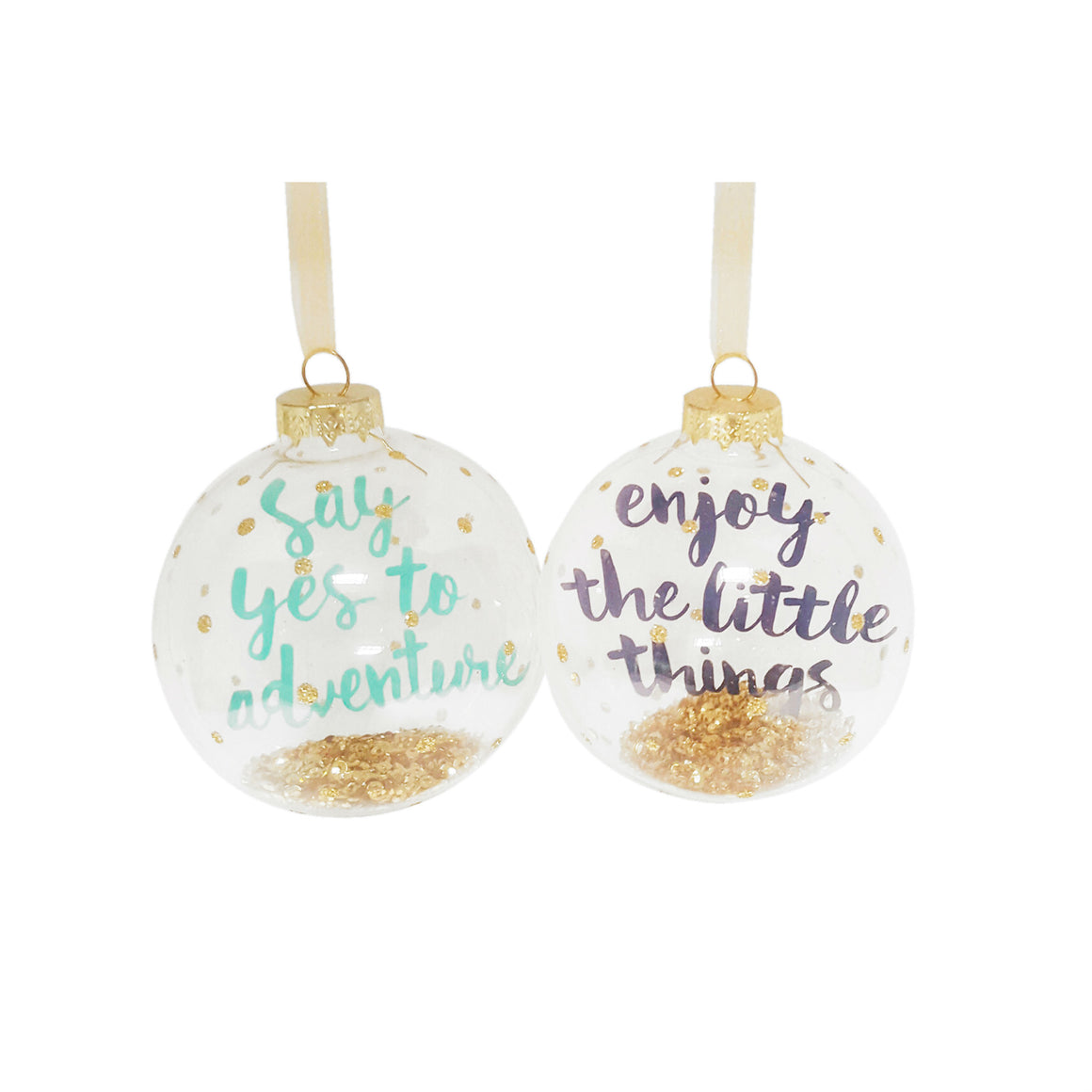 Oh So Pretty Glitter Slogan Glass Bauble - The Love Trees