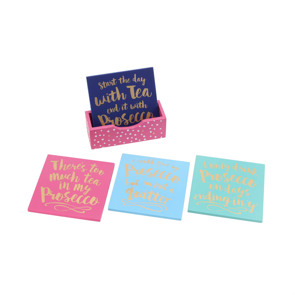Oh So Pretty Set of 4 Prosecco Wooden Coasters In Tray