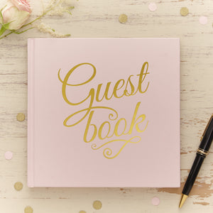 Pastel Perfection Pink Gold Foiled Wedding Guest Book - The Love Trees