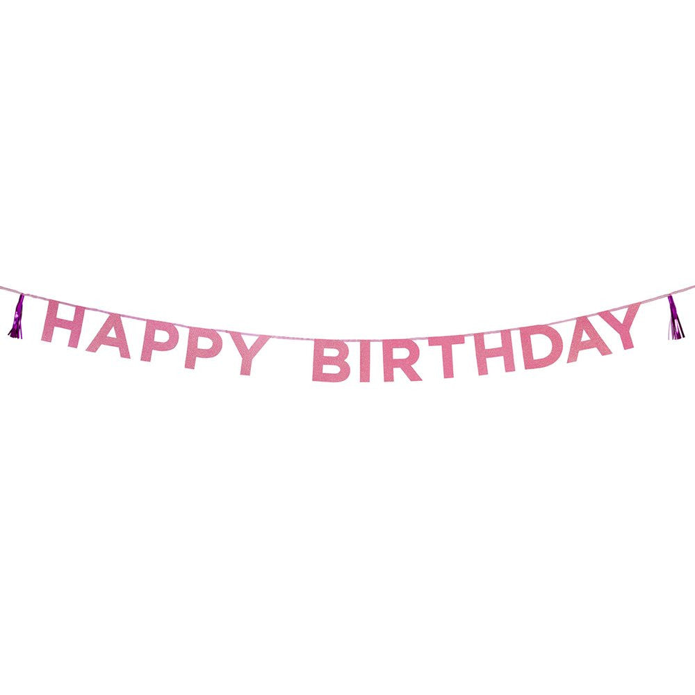 Say It With Glitter Pink 'Happy Birthday' Banner - The Love Trees