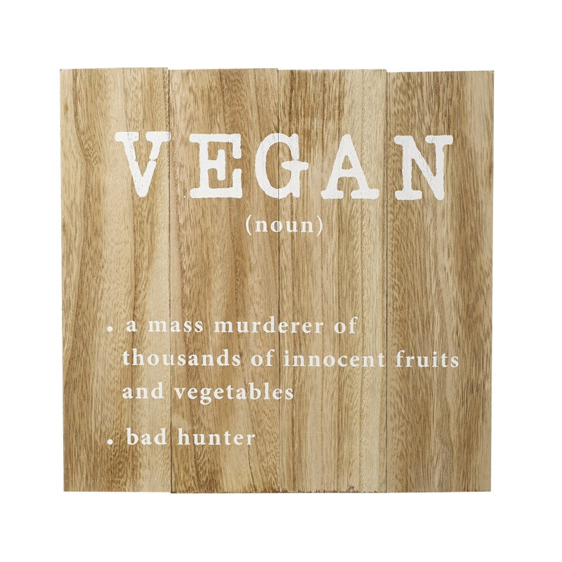 Wooden Vegan Sign