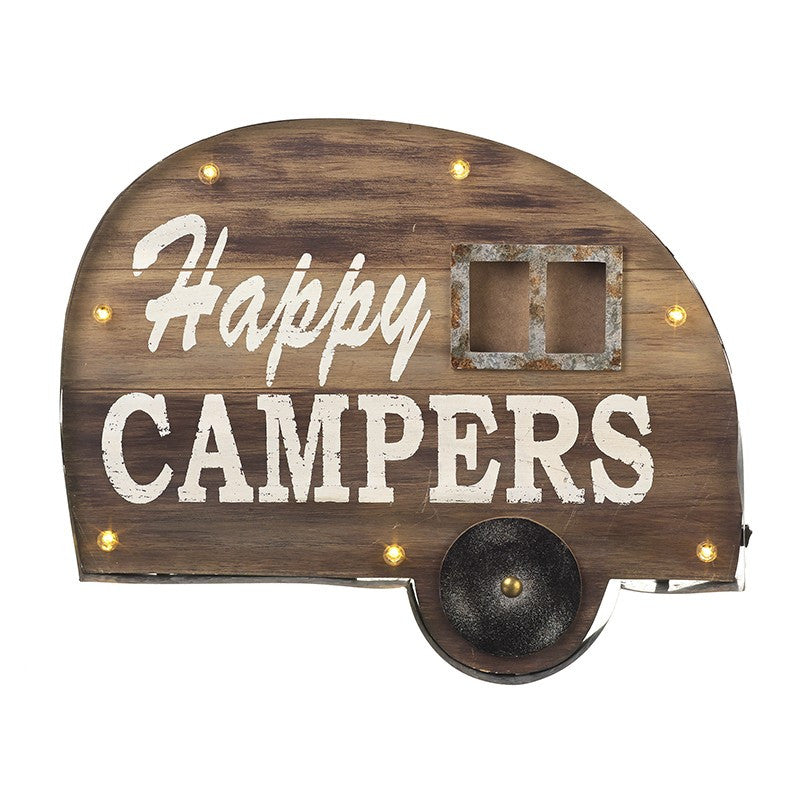 Happy Campers Wooden Camper Van Light Up Plaque - The Love Trees
