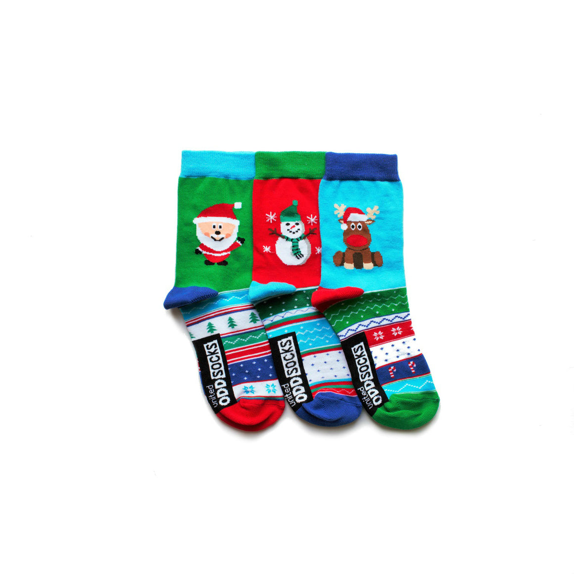 United Odd Socks Snow Christmas Socks Childrens 3 Pack