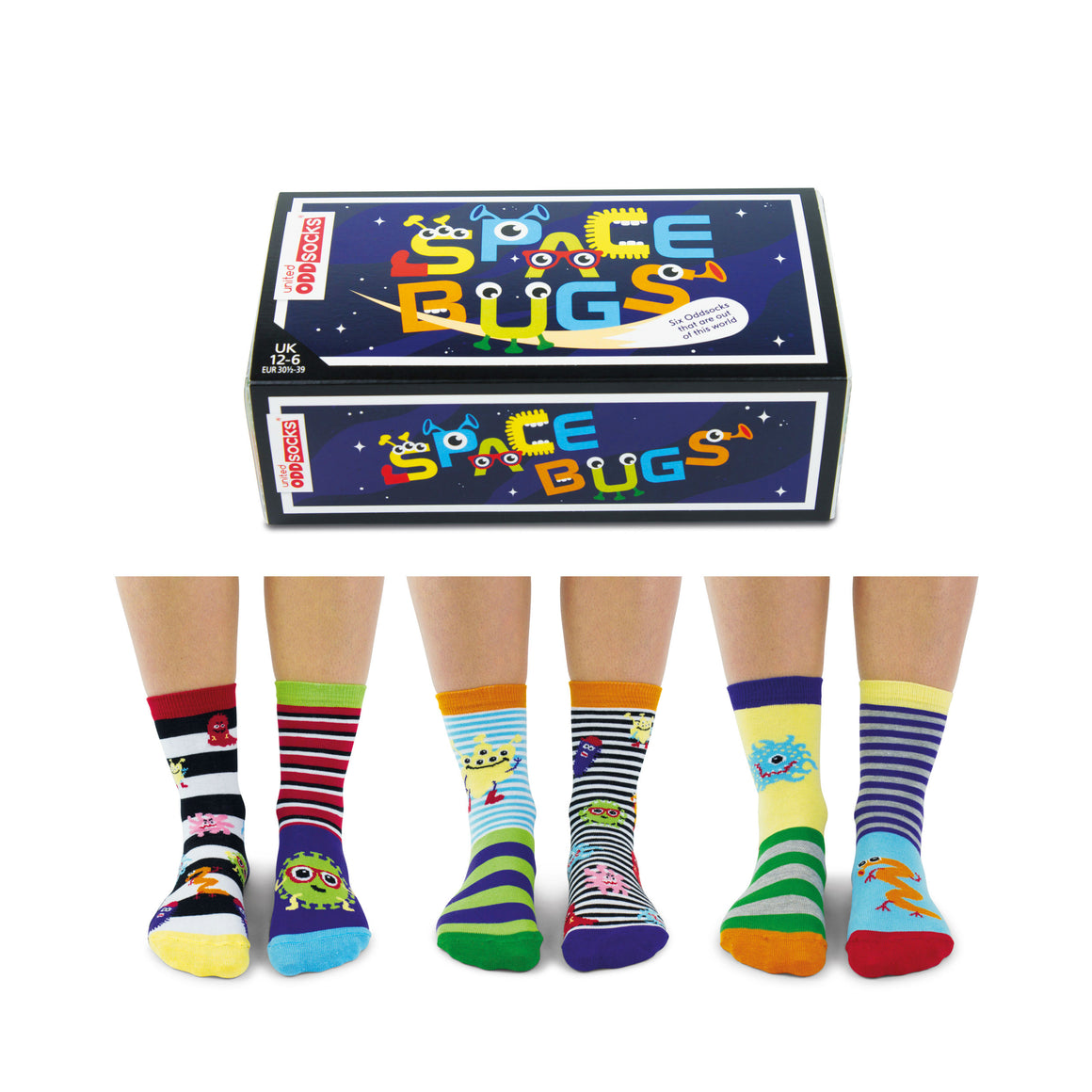 United Odd Socks Space Bugs Boys Gift Box