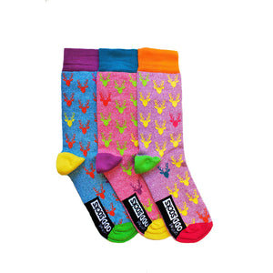United Odd Socks Stag Christmas Socks Mens 3 Pack