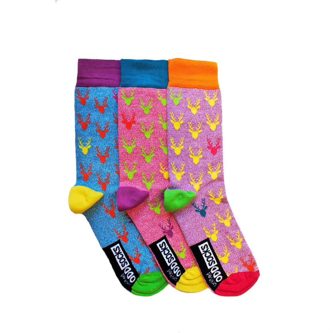 United Odd Socks Stag Christmas Socks Mens 3 Pack - The Love Trees