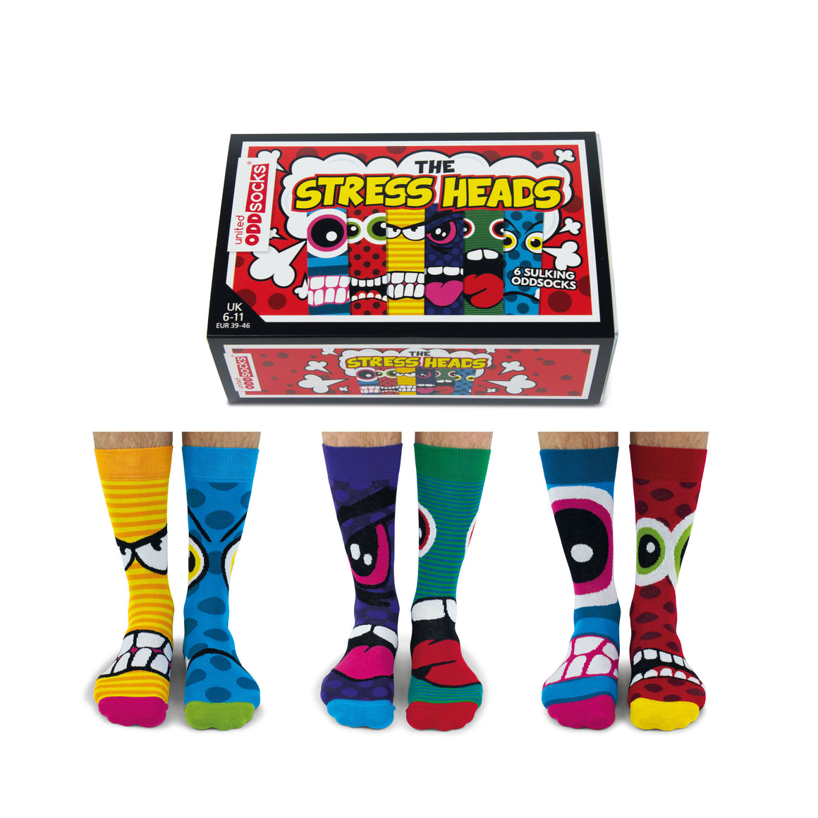 United Odd Socks Stress Heads Mens Gift Box - The Love Trees