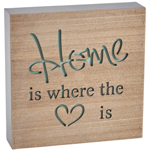 'Home Is Where The Heart Is' Block Wooden Sign - The Love Trees