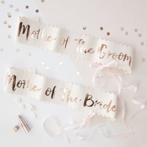 Pink And Rose Gold Foiled Mother Of The Bride Groom Sashes - 2 Pack - Team Bride - The Love Trees