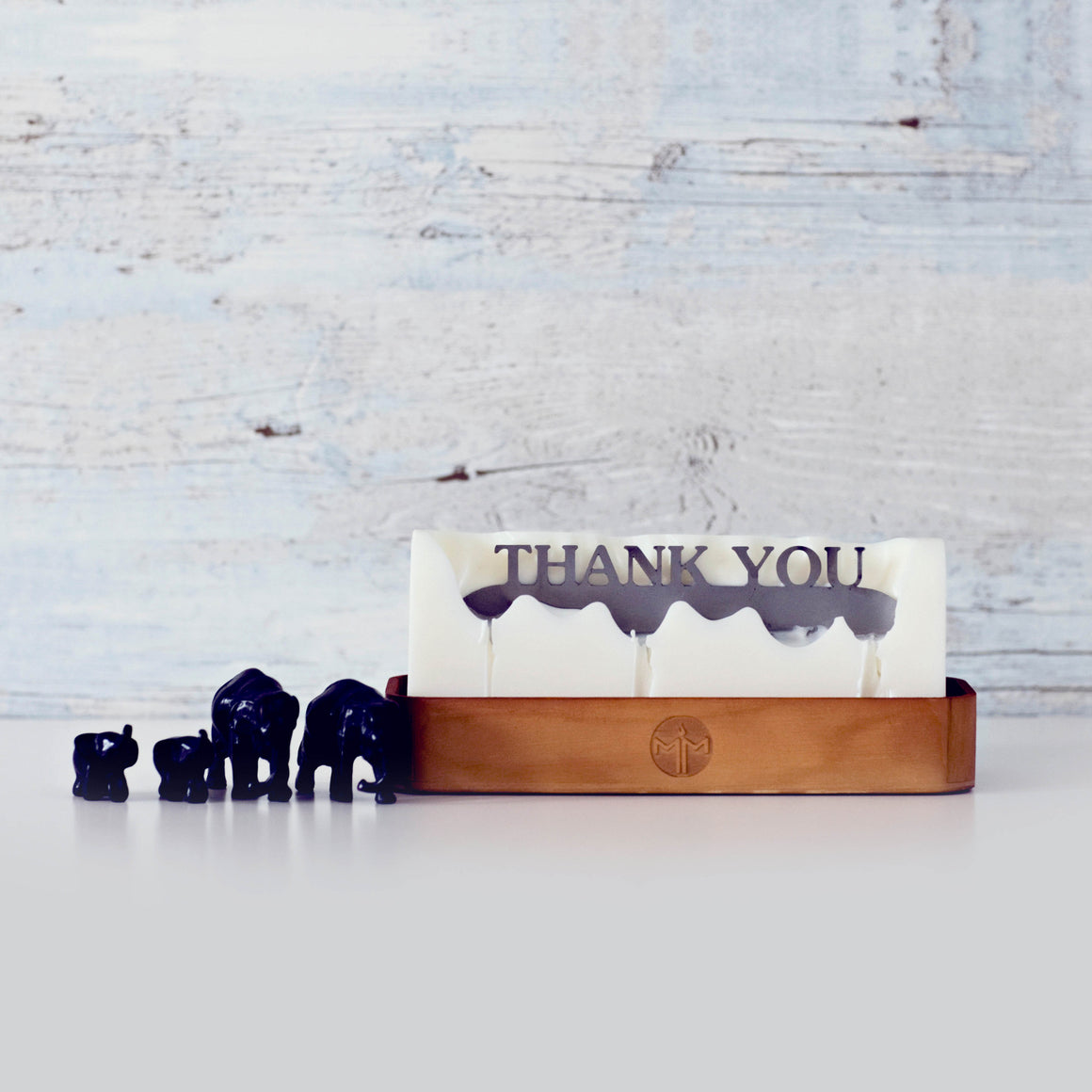 Hidden message candle 'thank you' wooden tray