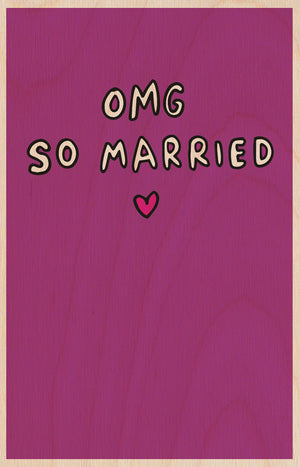 OMG So Married Wooden Postcard Greeting Card - The Love Trees