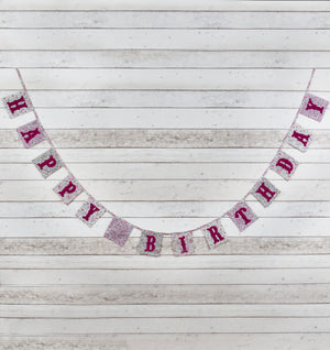 Vintage Floral Happy Birthday Fabric Bunting