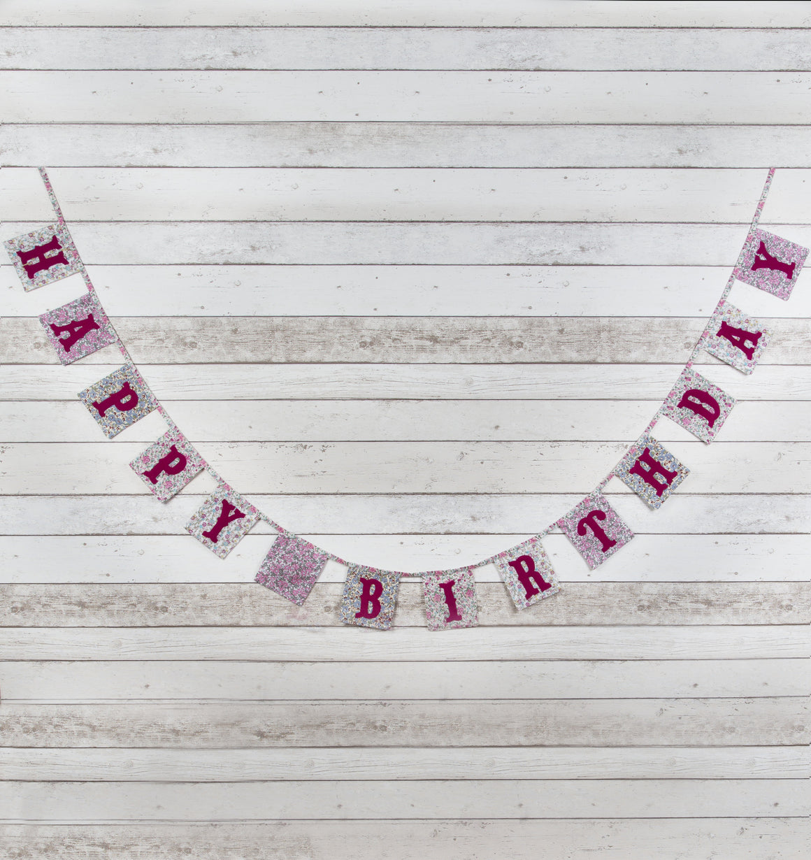 Vintage Floral Happy Birthday Fabric Bunting - The Love Trees