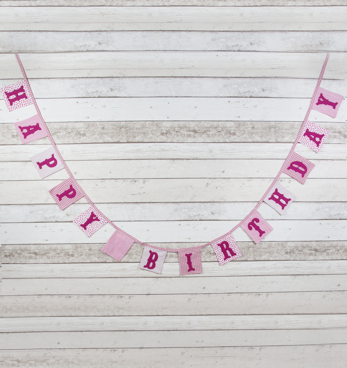 Vintage Floral Pink Happy Birthday Fabric Bunting