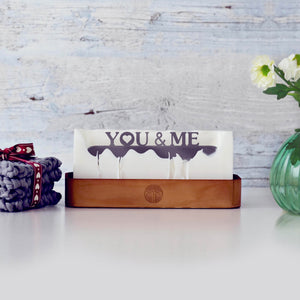 Hidden message candle 'you & me' wooden tray