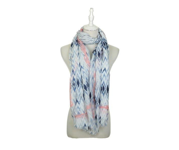 Zigzag 17 Women's Scarf - Blue/Pink - The Love Trees