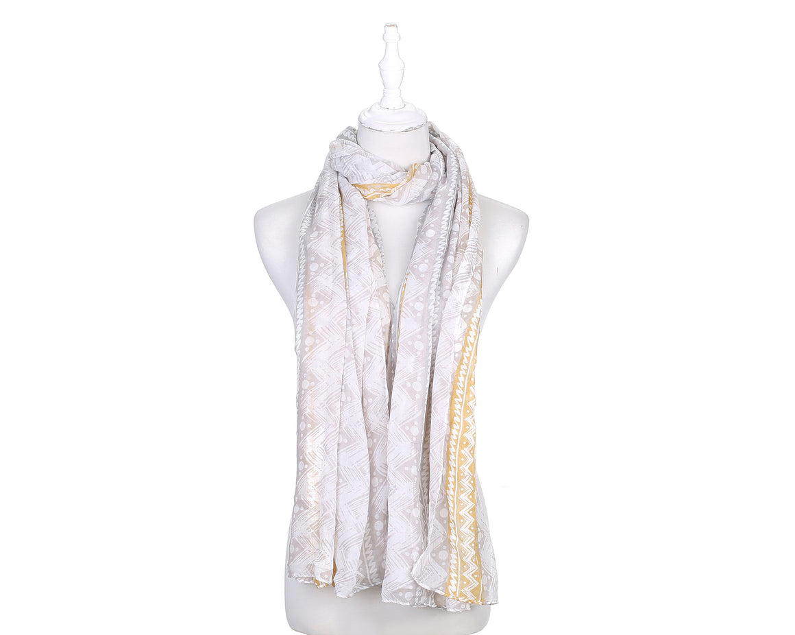 Zigzag 17 Women's Scarf - Grey & Mustard - The Love Trees
