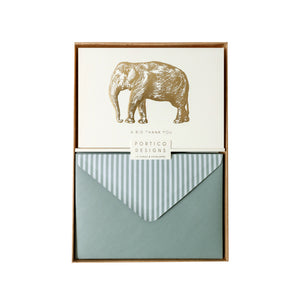 Boxed Notecards Gold Big Elephant - A Big Thank You - The Love Trees