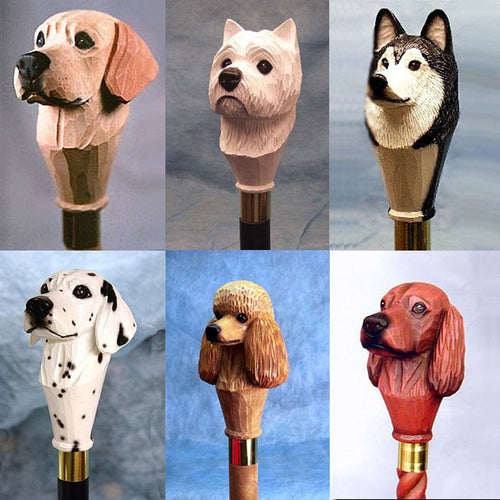 Handpainted Dog Handle Walking Sticks 4 Sale