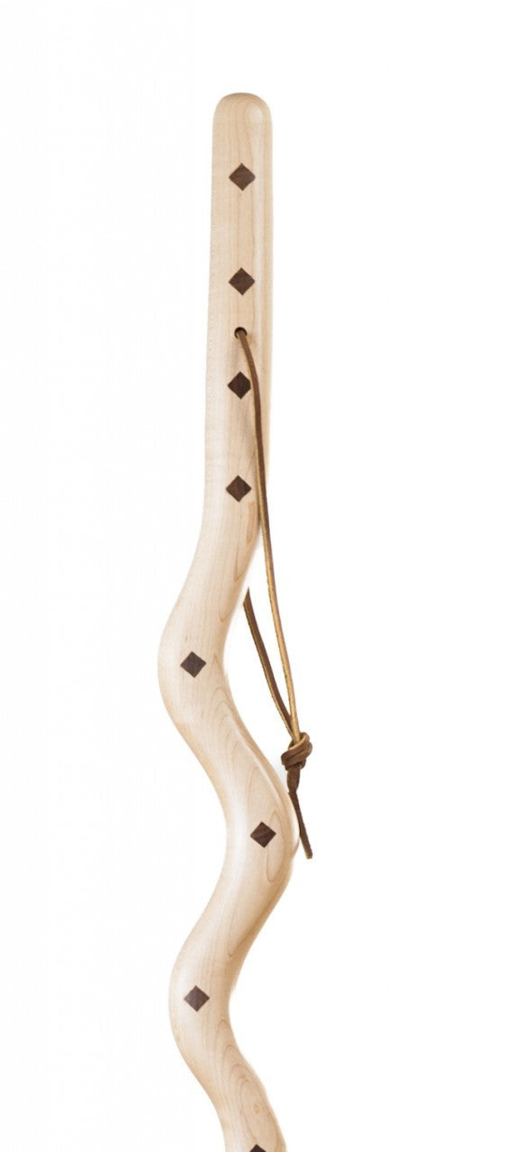 55 inch Southwest Riverbend Maple with Walnut Inlay Exotic Walking Stick