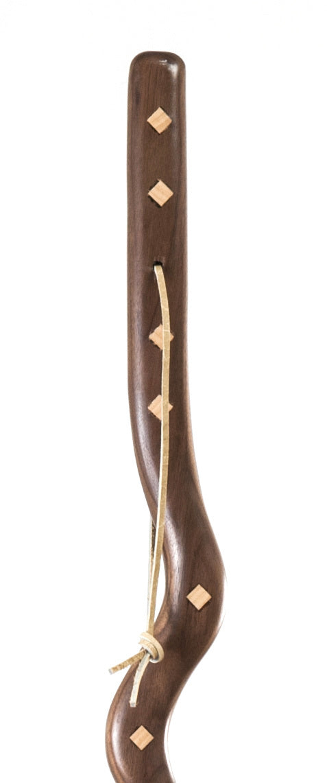 55 inch Southwest Riverbend Walnut with Maple Inlay Exotic Walking Stick