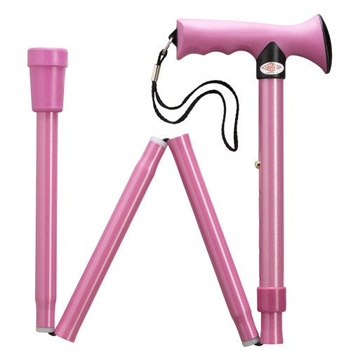 Overmold Ergonomic Adjustable Folding Cane Light Pink