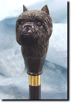 Affenpinscher Dog Head Cast Resin Walking Cane Stick