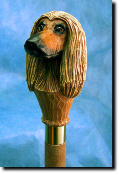 Afghan Hound Dog Head Cast Resin Walking Cane Stick
