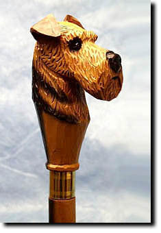 Airedale Dog Head Cast Resin Walking Cane Stick