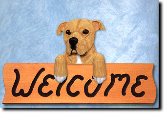 American Staffordshire Terrier Natural Welcome Sign
