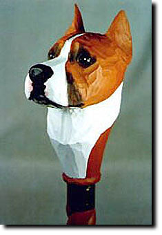 American Staffordshire Terrier Dog Head Cast Resin Walking Cane Stick