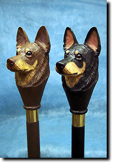 Australian Kelpie Dog Head Cast Resin Walking Cane Stick