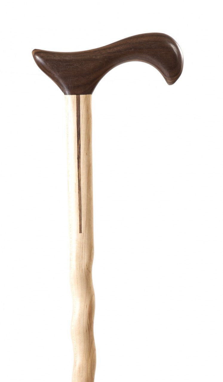 Ladies Maple with Walnut Handle and Spline Derby Walking Cane