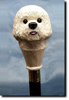 Bichon Frise Dog Hand-painted Walking Hiking Stick