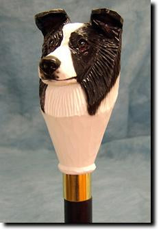 Border Collie Dog Hand-painted Walking Hiking Stick