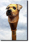 Border Terrier Dog Hand-painted Walking Hiking Stick