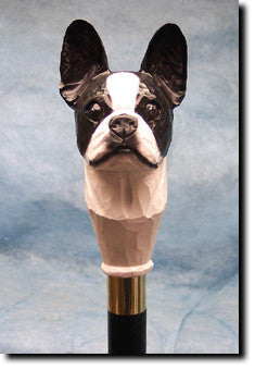 Boston Terrier Dog Hand-painted Walking Hiking Stick