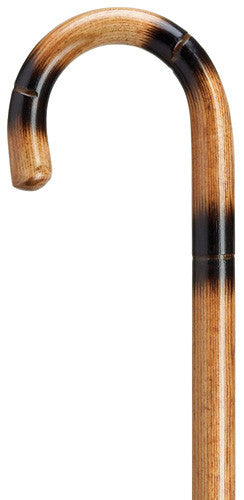 1 inch Crook Handle Stepped and Scorched Cane Applewood