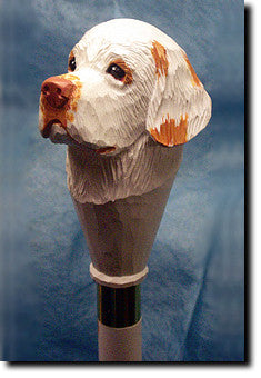 Clumber Spaniel Dog Hand-painted Walking Cane Stick