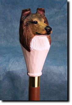 Collie Dog Hand-painted Walking Cane Stick