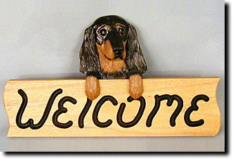 Dachshund Longhair Dog Wood Welcome Sign
