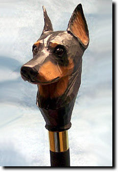 Doberman Dog Birch Wood Walking Cane Stick
